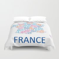 france Duvet Covers featuring France by Alexandra Dzh