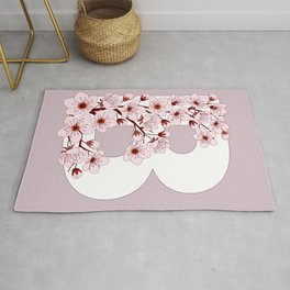 Colorful capital letter B patterned with sakura twig Rug