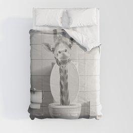 Giraffe in the Toilet Comforters