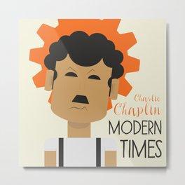 "Charlie Chaplin ""Modern Times"" movie poster, fine Art print, classic film with Paulette Goddard Metal Print"