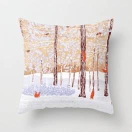 Winter pine forest with climbing squirrels and bullfinches Throw Pillow