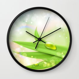 pastel colors with green grass and dew Wall Clock