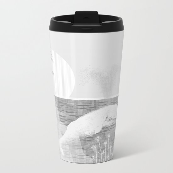 Tropical Black and White Vintage Whale Design Metal Travel Mug
