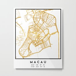 MACAU CHINA CITY STREET MAP ART Metal Print