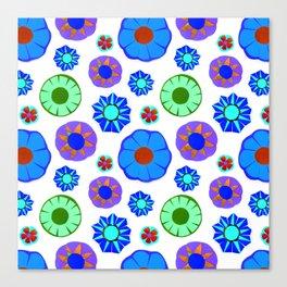 Flower Pattern-Blue Canvas Print