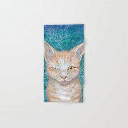 """;P ~ """"Seb the Groovy Cat"""" by Amber Marine ~ Watercolor & Acrylic Painting, (Copyright 2016) Hand & Bath Towel"""