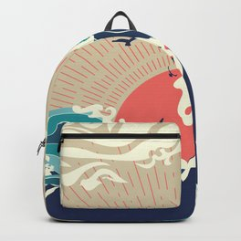 Abstract big waves of ocean and island at sunset landscape Backpack