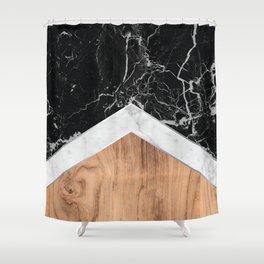 Arrows - Black Granite, White Marble & Wood #366 Shower Curtain