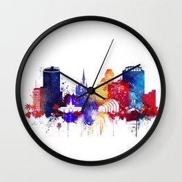 Orlando colorful skyline Wall Clock