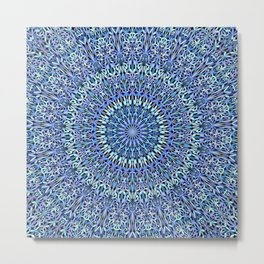 Blue Garden of Life Mandala Metal Print