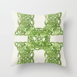 Celtic Knot:  Green Watercolor with complex form - Ireland - traditional folk art Throw Pillow