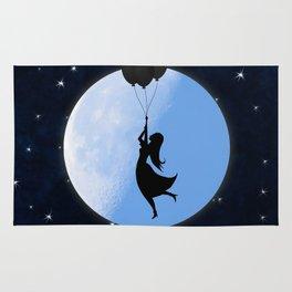 Starry Night Balloons Girl Rug