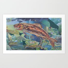 Brown Trout Art Collage by C.E. White Art Print
