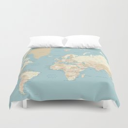 """Cream, brown and muted teal world map, """"Jett"""" Duvet Cover"""