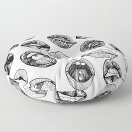 Hand Drawn Luscious Lips in Black and White Floor Pillow
