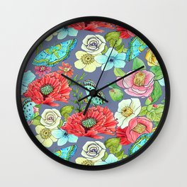 Floral Watercolour Wall Clock