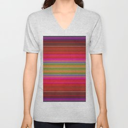 Colorful pink red green geometrical stripes Unisex V-Neck