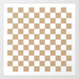 Checkered (Tan & White Pattern) Art Print
