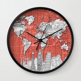 world map city skyline 9 Wall Clock