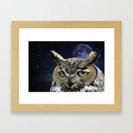Owl and Blue Moon Framed Art Print