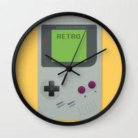 gameboy Wall Clocks featuring Retro Gameboy by Alex Boatman