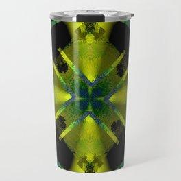 Spinning Wheel Hubcap in Lime Green Travel Mug