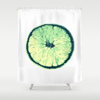 lemon Shower Curtains featuring Lemon by zabalza
