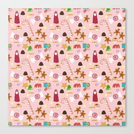 Christmas Sweeties Candies, Peppermints, Candy Canes and Chocolates on Pink Canvas Print