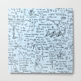 Physics Equations // Baby Blue Metal Print