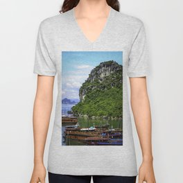Limestone Mountain with Red Boats in the Sea in front of It at Halong Bay, Vietnam Unisex V-Neck