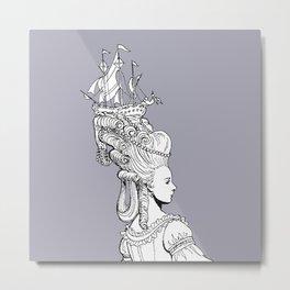Girl With Ship Metal Print