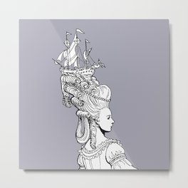 Girl With Ship Metal Print