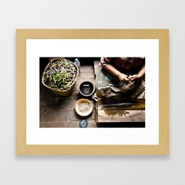 Loto workers in Inle Lake's Framed Art Print