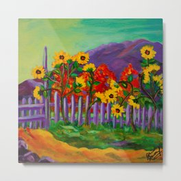 Sunflowers and Purple Mountains Metal Print