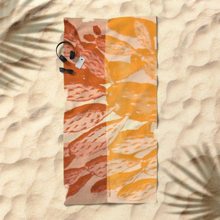 cactus vintage tones Beach Towel