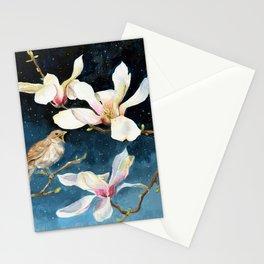 Night Music, Nightingale and Magnolias on Dark Sky, Stary Night Stationery Cards