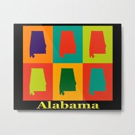 Colorful Alabama State Pop Art Map Metal Print