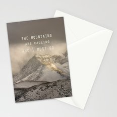 The Mountains are calling, and I must go.  John Muir. Vintage. Stationery Cards