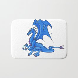 fairytale blue dragon with crystal ball for protection Bath Mat