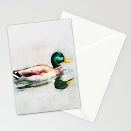 Mallard Duck Bird Wildlife Animal Watercolor Artistic Painting Stationery Cards