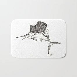 Surfing the fish Bath Mat
