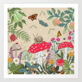 Toadstools in the Woods Art Print