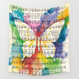 O Happy Day  Butterfly Watercolor on Sheet Music Wall Tapestry