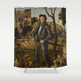 Vittore Carpaccio - Young Knight in a Landscape Shower Curtain
