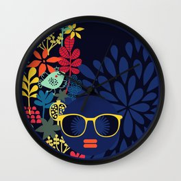 Afro Diva : Sophisticated Lady Blue Wall Clock