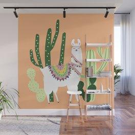 Cute Llama with Cactus Wall Mural