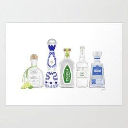 Tequila Bottles Illustration Art Print