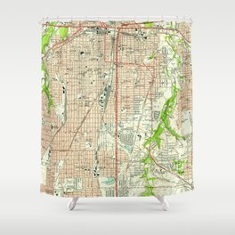 Vintage Map of Fort Worth Texas (1955) Shower Curtain