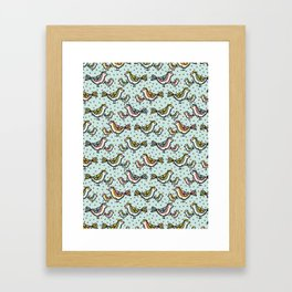 Cute Mama Birds Heart Love Blue and Pink Framed Art Print