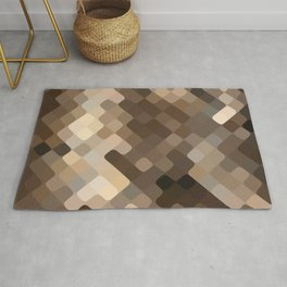 Cool Beige Brown Abstract Rounded Squares Pattern Rug
